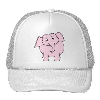 Dibujo animado de un elefante rosado gorra