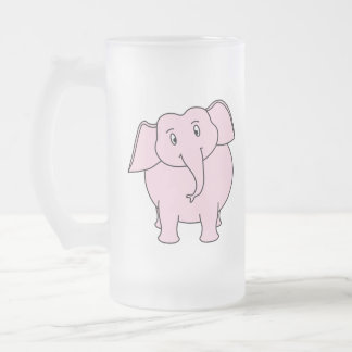 Dibujo animado de un elefante rosado jarra de cerveza esmerilada