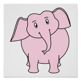 Dibujo animado de un elefante rosado posters