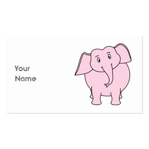 Dibujo animado de un elefante rosado plantillas de tarjetas personales