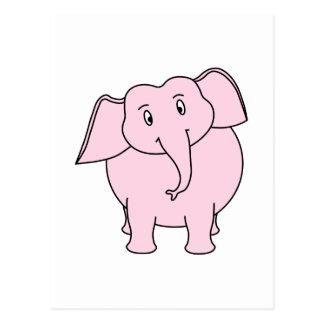 Dibujo animado de un elefante rosado postal