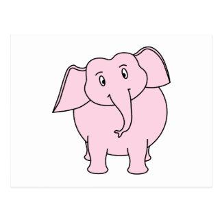 Dibujo animado de un elefante rosado postales