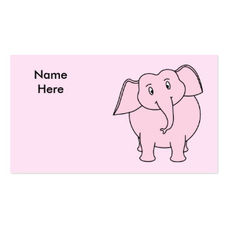 Dibujo animado de un elefante rosado tarjetas de visita