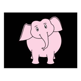 Dibujo animado de un elefante rosado tarjetas postales