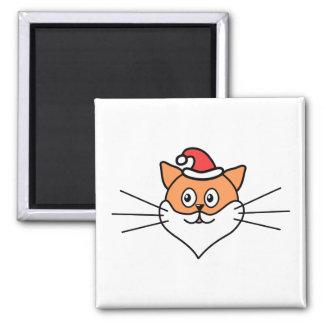 Dibujo animado de un gato en un gorra y una barba  imán cuadrado