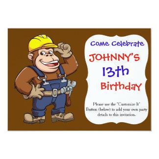 """Dibujo animado de una manitas del gorila invitación 5"""" x 7"""""""
