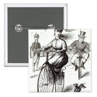 Dibujo animado de una señora en un velocípedo, 186 pin cuadrado