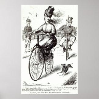 Dibujo animado de una señora en un velocípedo, 186 póster