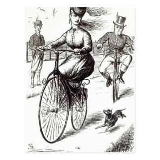 Dibujo animado de una señora en un velocípedo, postal
