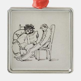 Dibujo animado de William Morris (1834-96) que lee Adorno Navideño Cuadrado De Metal