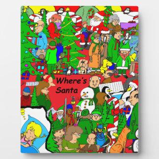 dibujo animado de x37 Wheres Santa Placas Para Mostrar