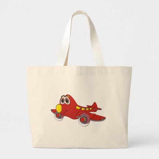 Dibujo animado del aeroplano bolsa tela grande