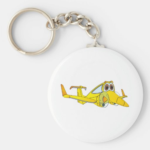 Dibujo animado del aeroplano llavero redondo tipo pin