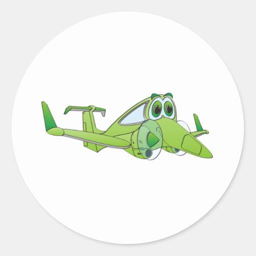 Dibujo animado del aeroplano pegatina redonda