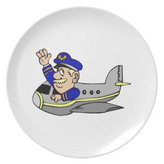 Dibujo animado del aeroplano platos