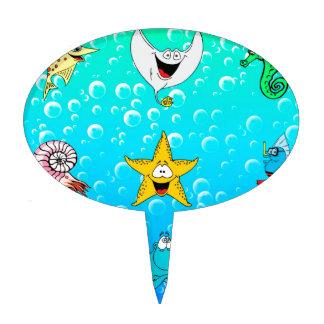 Dibujo animado del animal de mar decoraciones de tartas