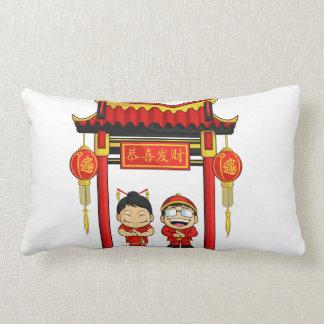 Dibujo animado del Año Nuevo chino de saludo del m Almohadas