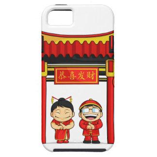 Dibujo animado del Año Nuevo chino de saludo del m iPhone 5 Case-Mate Carcasa