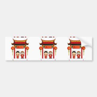 Dibujo animado del Año Nuevo chino de saludo del m Pegatina Para Auto