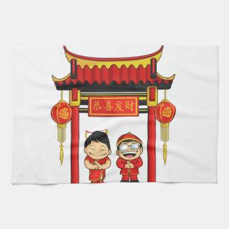 Dibujo animado del Año Nuevo chino de saludo del m Toallas De Cocina
