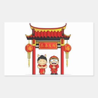 Dibujo animado del Año Nuevo chino de saludo del Pegatina Rectangular
