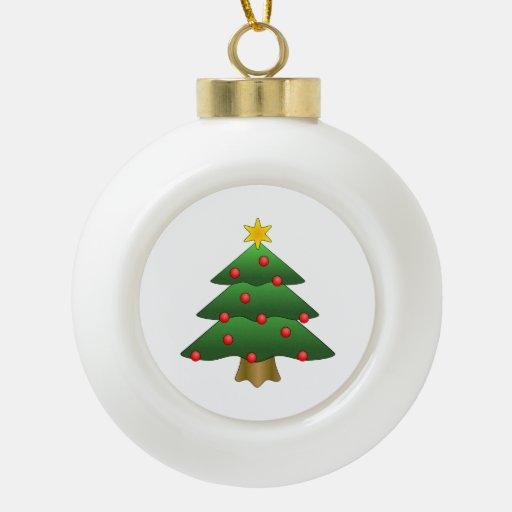Dibujo animado del árbol de navidad adorno de cerámica en forma de bola