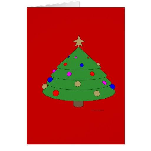 Dibujo animado del árbol de navidad felicitación