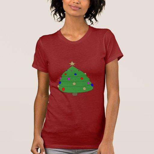 Dibujo animado del árbol de navidad camisetas