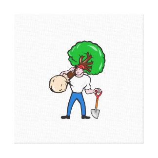 Dibujo animado del árbol del arborista del jardine impresión en lona estirada