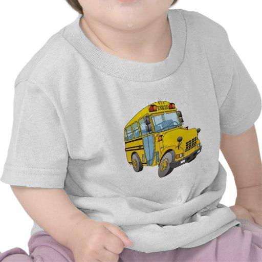 Dibujo animado del autobús escolar camisetas