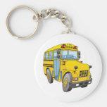 Dibujo animado del autobús escolar llaveros