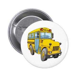 Dibujo animado del autobús escolar pin redondo 5 cm