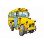 Dibujo animado del autobús escolar postal