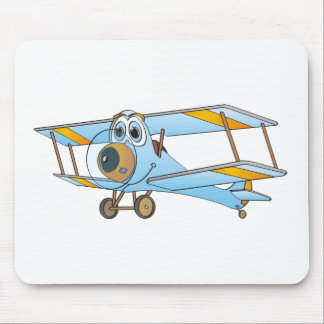 Dibujo animado del azul del biplano tapete de ratones