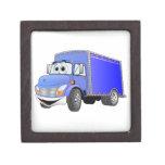 Dibujo animado del azul del camión de reparto cajas de recuerdo de calidad