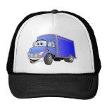 Dibujo animado del azul del camión de reparto gorro