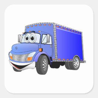 Dibujo animado del azul del camión de reparto pegatina cuadrada