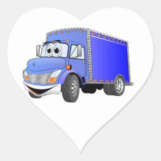 Dibujo animado del azul del camión de reparto pegatina en forma de corazón