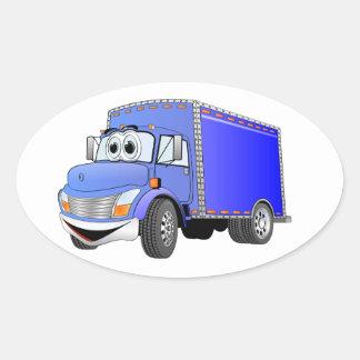 Dibujo animado del azul del camión de reparto pegatina ovalada