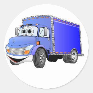 Dibujo animado del azul del camión de reparto pegatina redonda