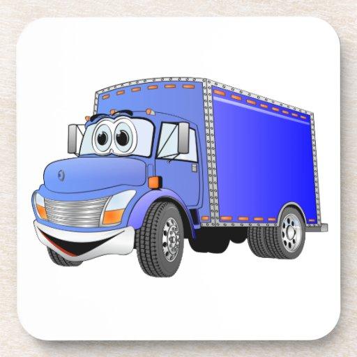 Dibujo animado del azul del camión de reparto posavaso