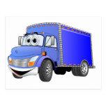 Dibujo animado del azul del camión de reparto postal