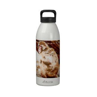 Dibujo animado del babuino botella de agua