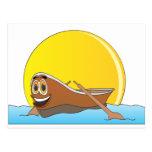 Dibujo animado del barco de fila de Brown Tarjetas Postales