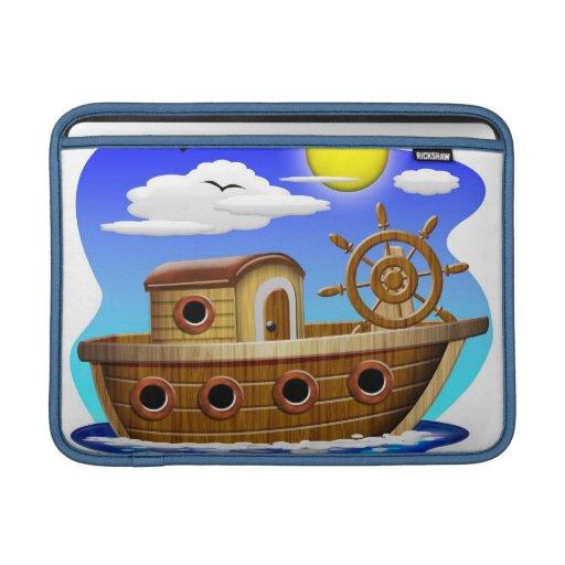 Dibujo animado del barco de pesca funda para macbook air | Zazzle