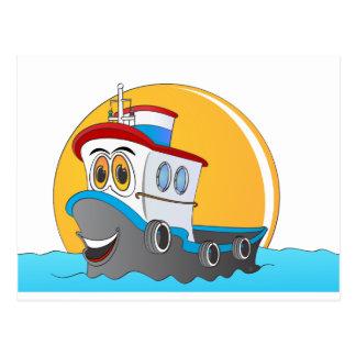 Dibujo animado del barco del tirón postales