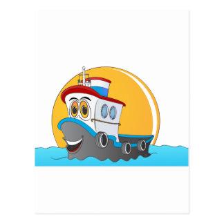 Dibujo animado del barco del tirón tarjeta postal