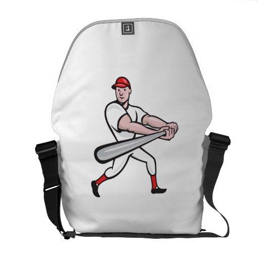 Dibujo animado del bateo del jugador de béisbol bolsas de mensajería