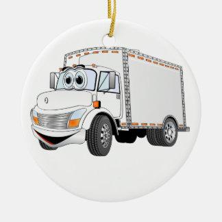 Dibujo animado del blanco del camión de reparto adorno navideño redondo de cerámica