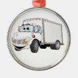 Dibujo animado del blanco del camión de reparto ornamente de reyes